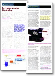 Servopneumatics Go Analog, Enfield Technologies Design News Article